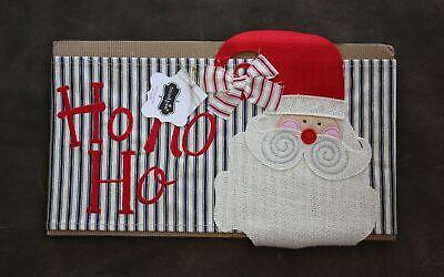 Mud Pie Burlap Pillow Wrap Christmas Santa NEW ()