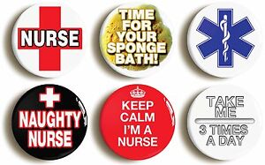 6-x-SEXY-NURSE-FANCY-DRESS-BADGES-BUTTONS-PINS-1inch-25mm-diameter-NAUGHTY