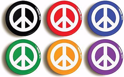 6 x cnd peace symbol sixties badges buttons pins (size is 1inch/25mm diameter)