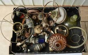 Kerosene Oil Lamp Burners & Mixed Parts Lot Antique Vintage