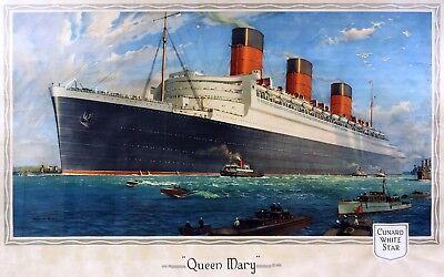 7135.Queen Mary Cruise ship travel POSTER.Maritime art.Ocean liner wall decor (Cruise Ship Decor)