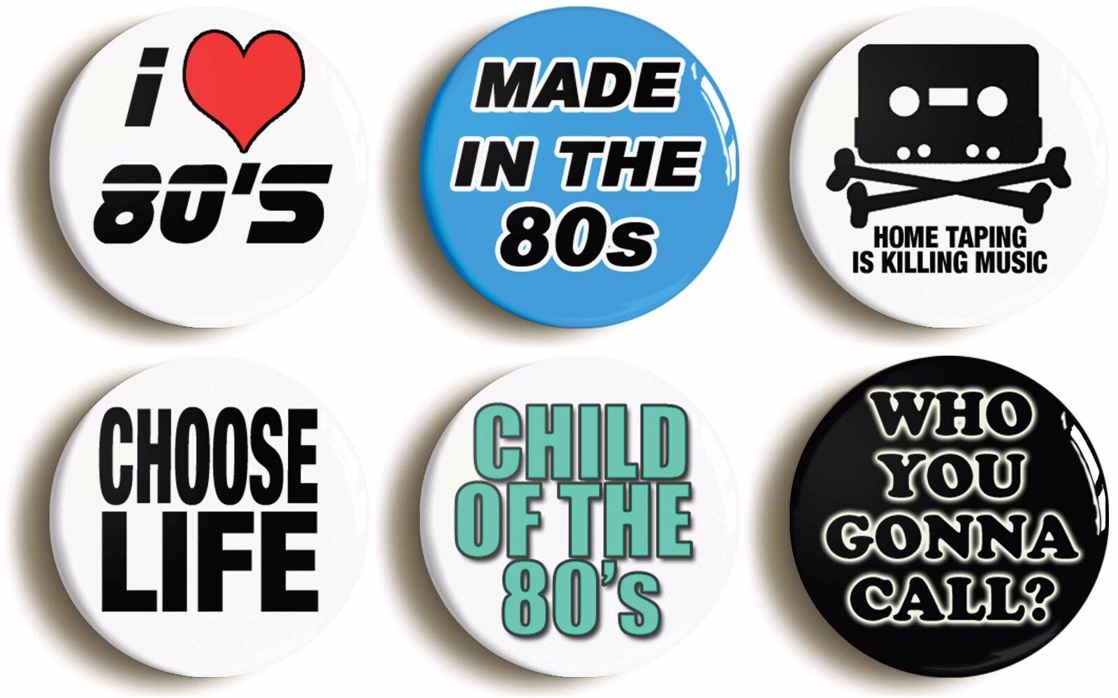 6 x eighties retro badges (1inch/25mm diameter) fancy dress stag hen 1980s