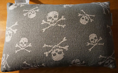 PIRATE SKULL & CROSSBONES PILLOW Nautical Canvas Sailing Boat Ship Couch Decor