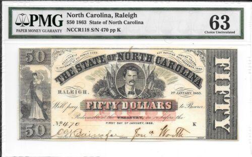 NCCR118 1863 $50 State of North Carolina Raleigh S/N 470 PMG 63