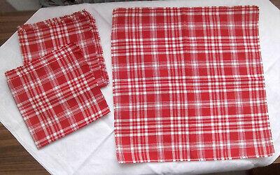 Kariert, 3 Stück (Deckchen 3 Stück, Bauernmuster/-stoff, rot-weiß-kariert, ca. 34 x 34 cm)