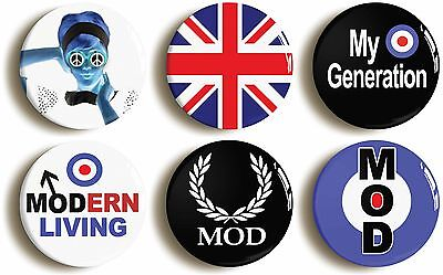 6 x mod badges buttons pins 1inch/25mm diameter 1960s fancy dress retro sixties