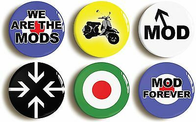 6 x mod retro sixties badges buttons pins (1inch/25mm) 1960s fashion fancy dress
