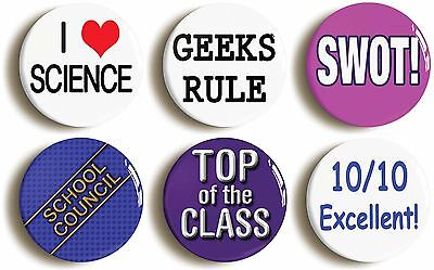 school disco badge set geek fancy dress (size is 1inch/25mm diameter) chic 1990s