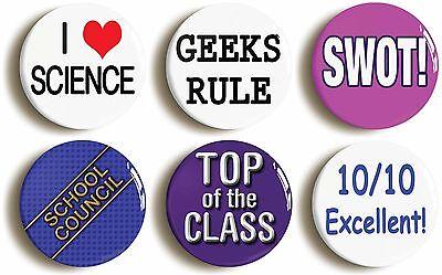 school disco badge set geek fancy dress (size is 1inch/25mm diameter) chic 1990s