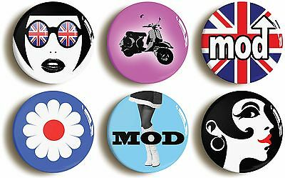6 x mod sixties retro fancy dress badges buttons pins 1inch/25mm diameter 1960s