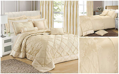 Curtains Ideas cream bedding and curtains : Damask Cream Jacquard Duvet Cover Bedding Quilted Bedspread ...