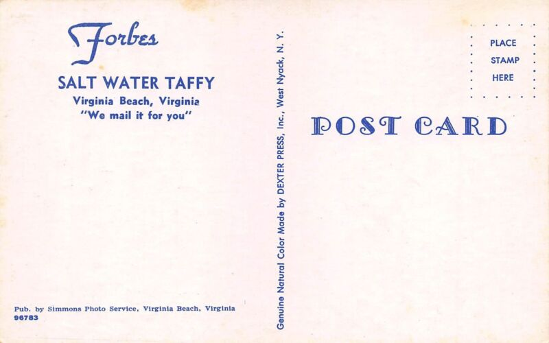 Scene Shows A View Of Forbes Salt Water Taffy In Virginia Beach Va Postcard Is Very Good Condition And Postally Unused