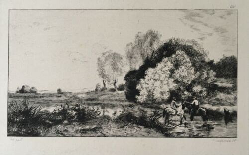BRACQUEMOND FELIX, PARIS (1833-1914) LE GUE 1873 Eau-forte, d'après COROT No150