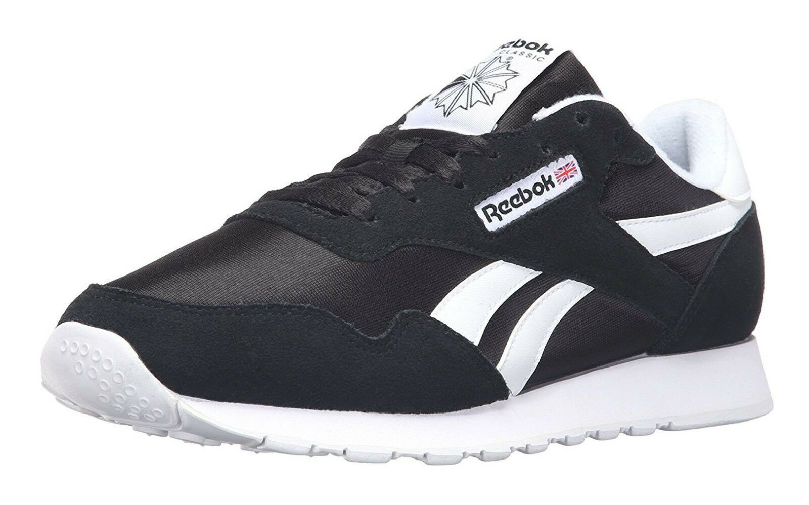 Мужская спортивная обувь Reebok Classic Nylon Black White Mens Running Tennis Shoes Item 6604