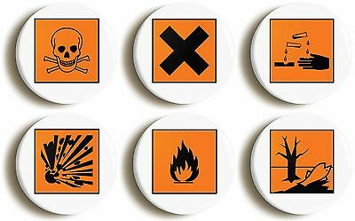 6 x hazard symbol badge button pins (1inch/25mm diameter) science geek chic