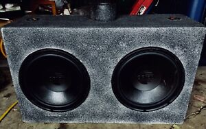 "OLDER, 12"" ORION DUAL SUBWOOFERS in a WIRED BOX."