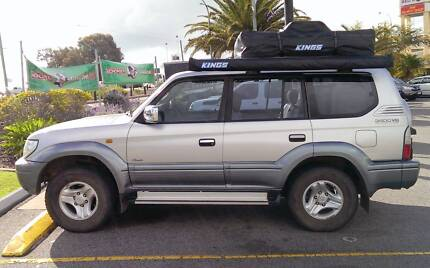 2002 Toyota LandCruiser Prado with roof top tent and camping gear