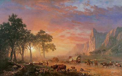 - The Oregon Trail by Albert Bierstadt Wagon Trail Covered Wagon Western 10x16