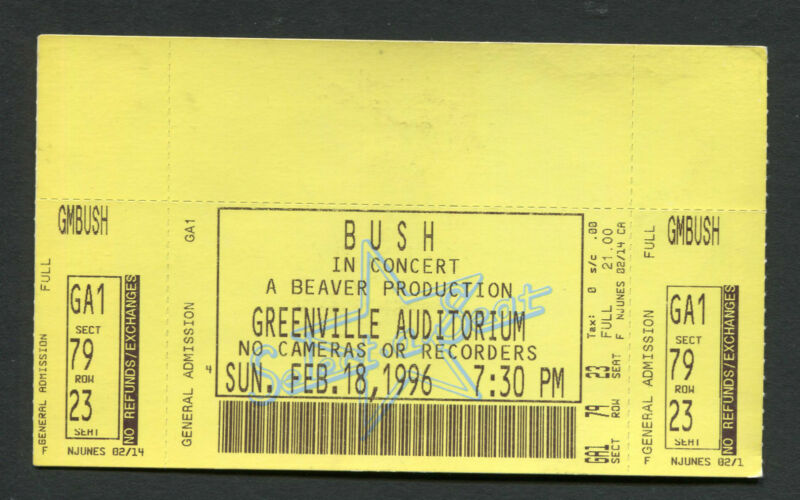 1996 Bush unused full concert ticket Greenville Auditorium SC Sixteen Stone Tour