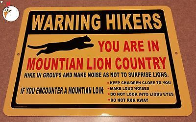 WARNING MOUNTAIN LIONS, Sign, traps, trapping, hunting, lion, hiking, trail,