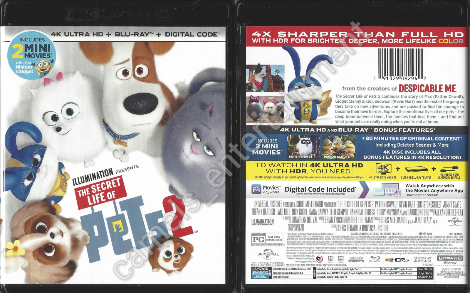 The Secret Life Of Pets 2 Includes 4K UHD Blu-ray Disc, 2019  - $10.19