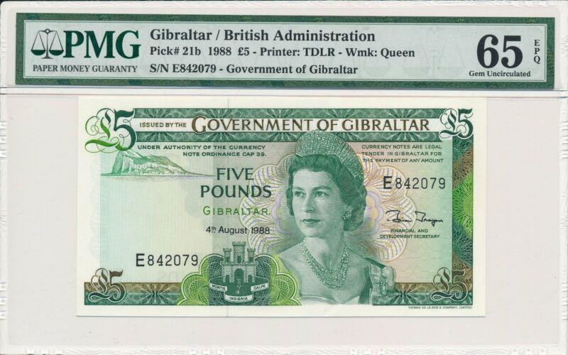 Government of Gibraltar  5 Pounds 1988  PMG  65EPQ