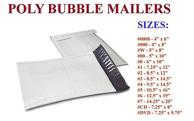 5-3000 Poly Bubble Padded Envelopes Mailers 000 00 0 Cd 1 2 3 4 5 6 7