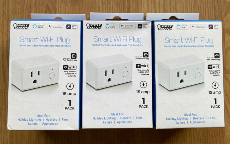 3 Pack Feit Electric Wifi Smart Plug works with Alexa or Google Home, Open Boxes