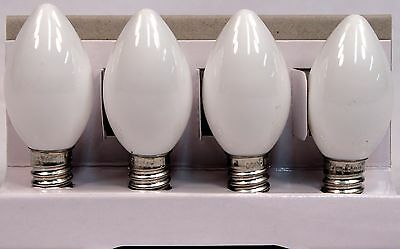 LED Candelabra Base C7 Light Bulbs , White Opaque ,E12 Base, Pack of 4 Bulbs