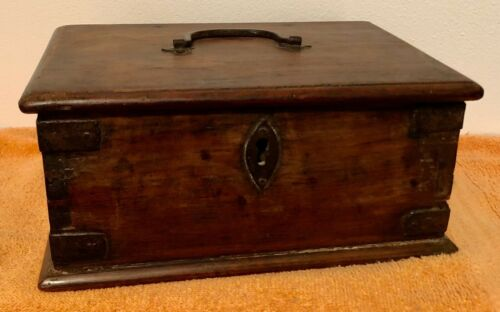 Antique Brown Dovetailed Wood Document Box with Handle and Inner Compartment