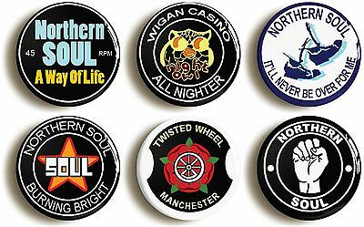 6 x northern soul badges buttons pins (1inch/25mm) wigan casino keep the faith