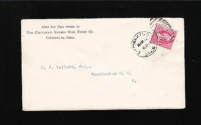 CINCINNATI BARBED WIRE FENCE CO - C BALLARD WASHINGTON COURT  HOUSE OH COVER 7W