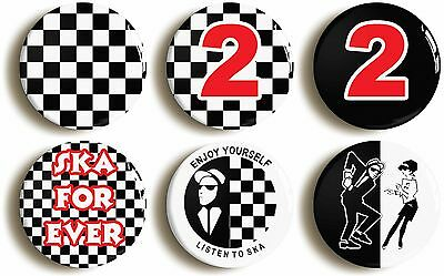 ska badge button pin set (1inch/25mm diameter) 1970s specials two tone madness