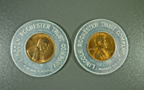 2 Lincoln Rochester Trust Bank Encased BU 1956-D Wheat Pennies Lucky Penny