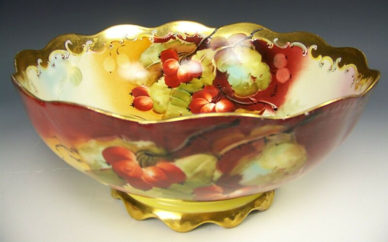 """LIMOGES PICKARD HAND PAINTED BERRY 9.75"""" CENTERPIECE BOWL SIGNED REAN"""