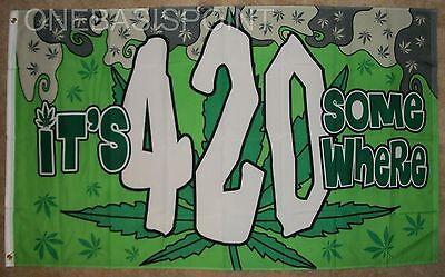 3'x5' It's 4:20 Somewhere Marijuana Leaf Flag Pot Weed Bud S
