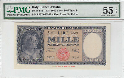 LANZ Italien 1000 Lire 1948 B Perlen TRE GRAZIE Boticelli Gorgone Meduse @IVR13