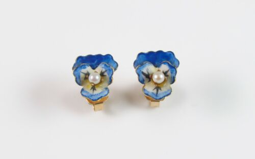 Antique 14k Gold Estate Blue Enamel Pansy Flower Earrings With Pearl Center