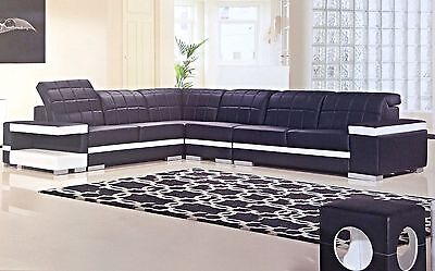 Contemporary Black White Leather Sectional Sofa Chaise Chair Corner Console Set