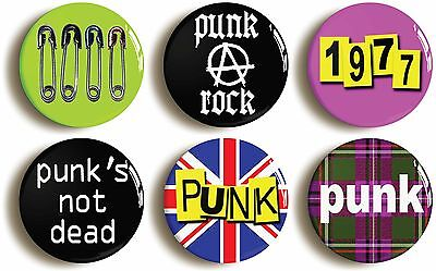 6 x punk rock fancy dress badges buttons pins (1inch/25mm diameter) seventies