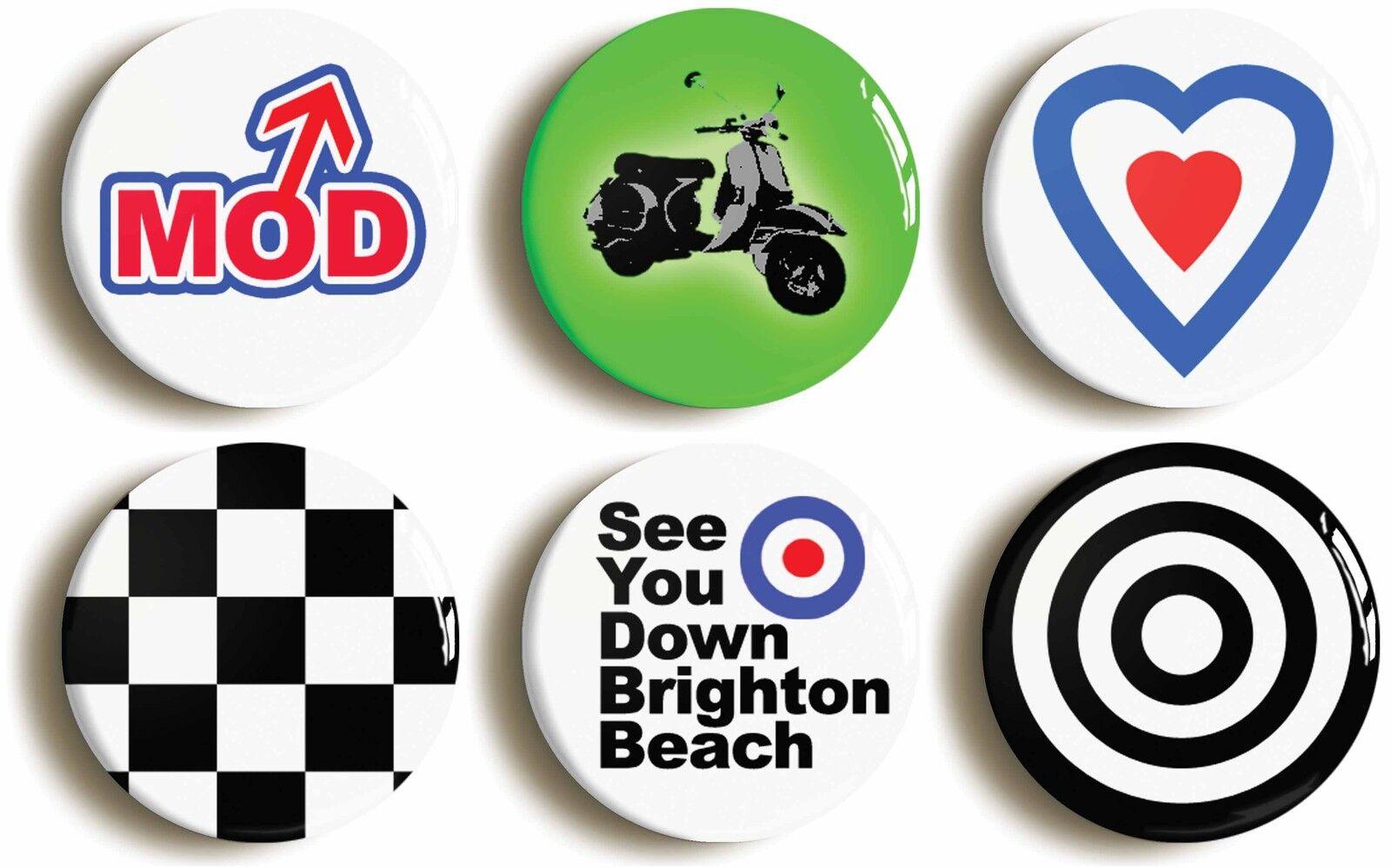 6 x mod badge button pin fancy dress set (size is 1inch/25mm diameter)