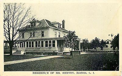 HERVEY RESIDENCE, BALDWIN LONG ISLAND, NEW YORK, VINTAGE POSTCARD