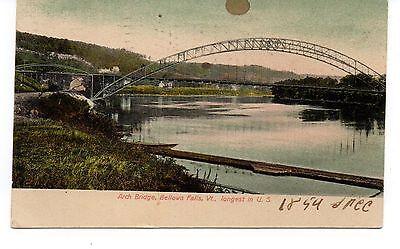 An Arch Bridge, Falls, Vermont, Vintage Postcard, Sep