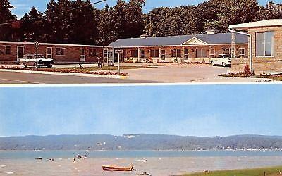 For sale Onekama Michigan~Portage Lake Motel~Telephone Booth~1960s Postcard