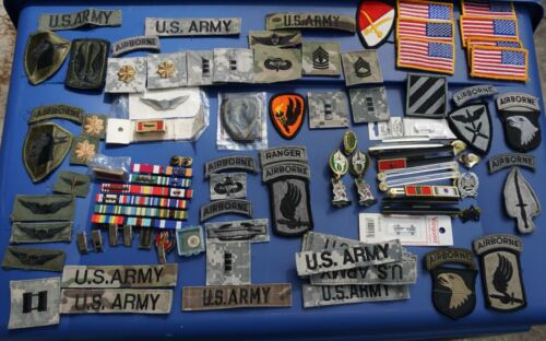 Large lot, US Army patches, pins, ribbon rack, crests, etc. ( Loc =A3 box)