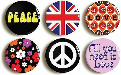 6 x sixties fancy dress badges buttons pins (1inch/25mm diameter) 1960s hippie
