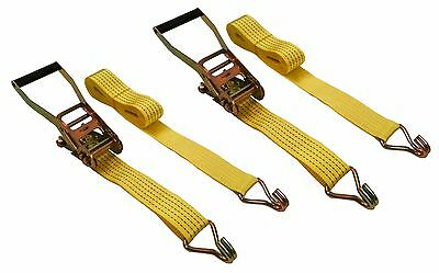 "2 Pc 2"" inch x 15' Ft Ratchet Tie Down Cargo Straps 5000 Lbs J Hooks 2 pack"