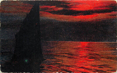DB OR Postcard C705 Cancel 1909 Stamp Missing Oregon Coast Sunset Sail Boat