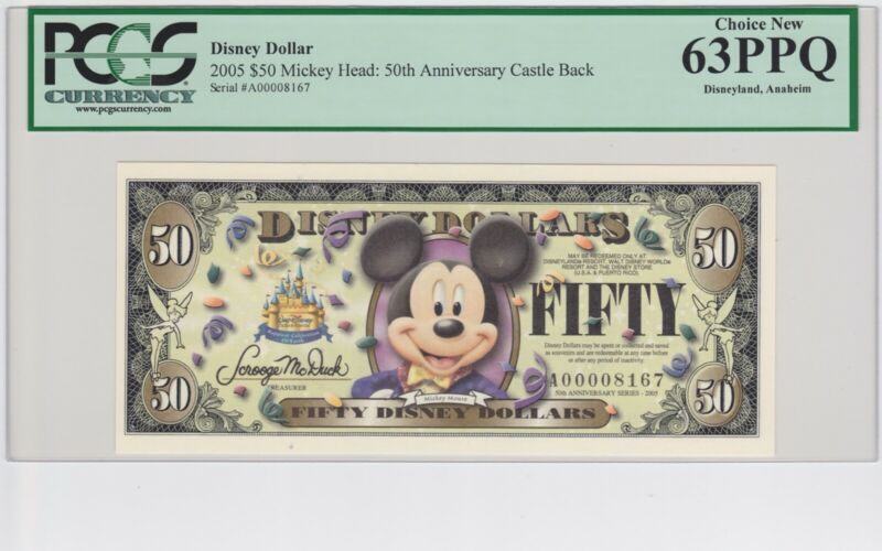 Disney Dollar 2005 A $50 Mickey Mouse A00008167 PCGS 63 PPQ Choice New