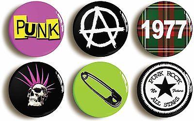 6 x punk rock fancy dress badges buttons pins (1inch/25mm diameter) retro 1970s